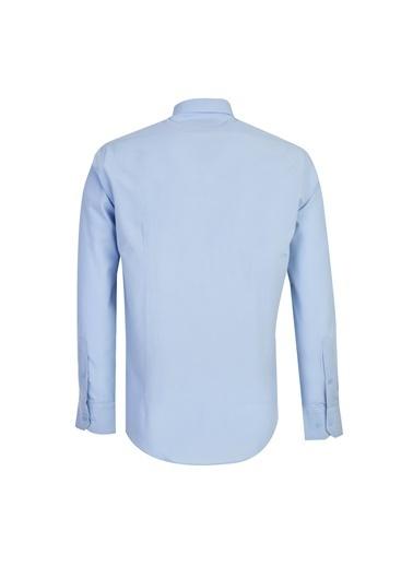 Kiğılı Uzun Kol Slim Fit Gömlek Mavi